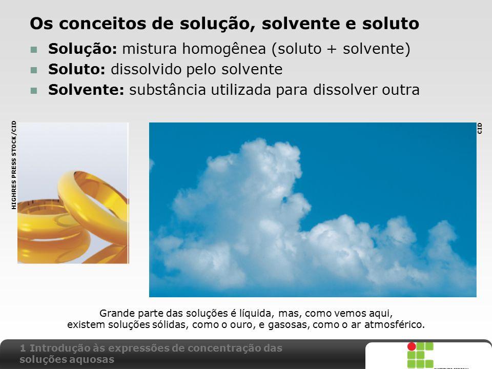 Os conceitos de solução, solvente e soluto