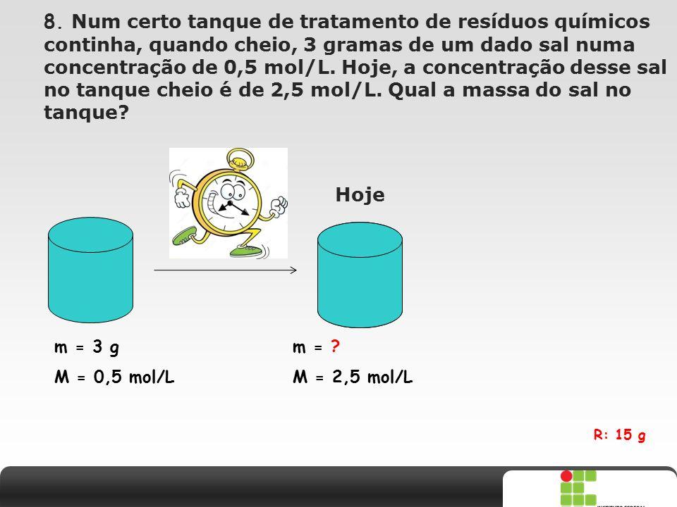8. Num certo tanque de tratamento de resíduos químicos continha, quando cheio, 3 gramas de um dado sal numa concentração de 0,5 mol/L. Hoje, a concentração desse sal no tanque cheio é de 2,5 mol/L. Qual a massa do sal no tanque