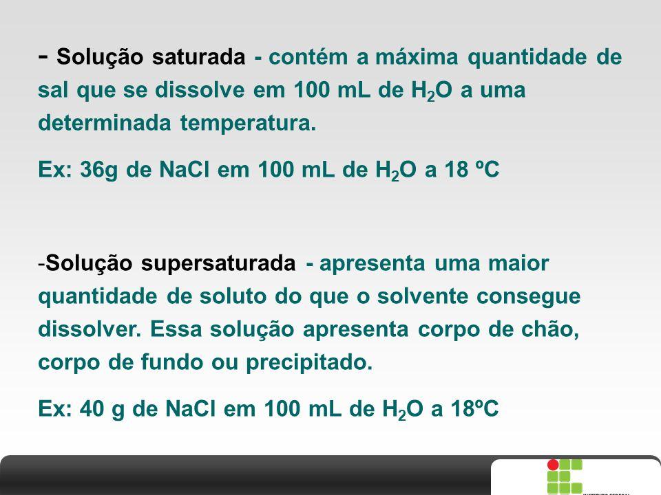 - Solução saturada - contém a máxima quantidade de sal que se dissolve em 100 mL de H2O a uma determinada temperatura.