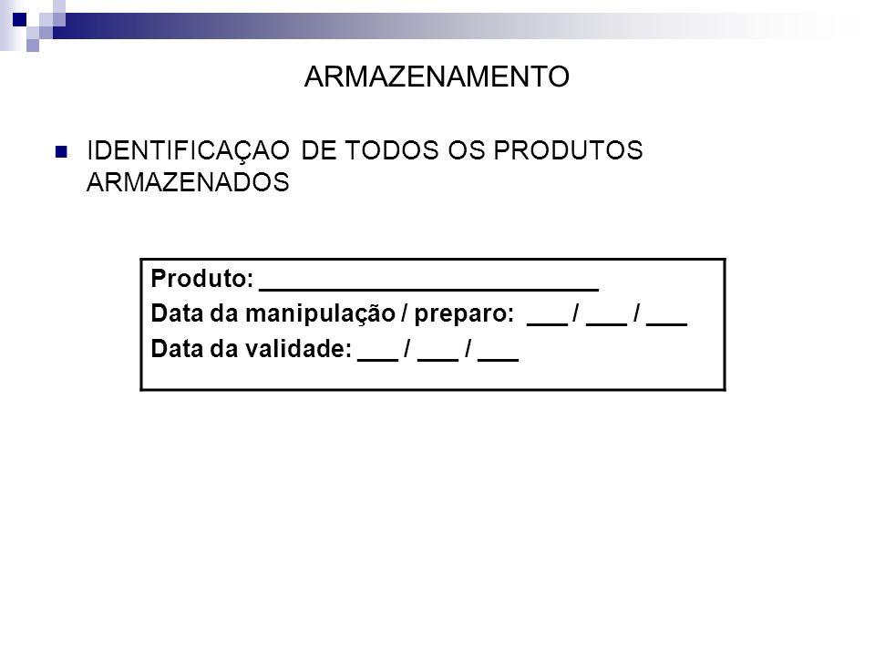 ARMAZENAMENTO IDENTIFICAÇAO DE TODOS OS PRODUTOS ARMAZENADOS