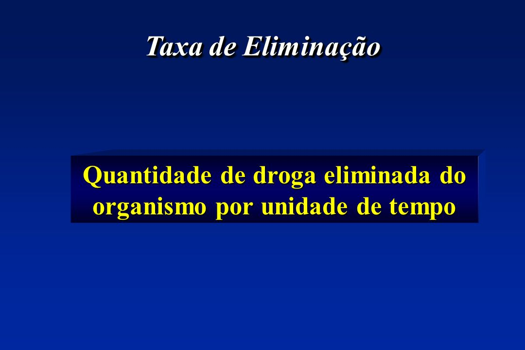 Quantidade de droga eliminada do organismo por unidade de tempo