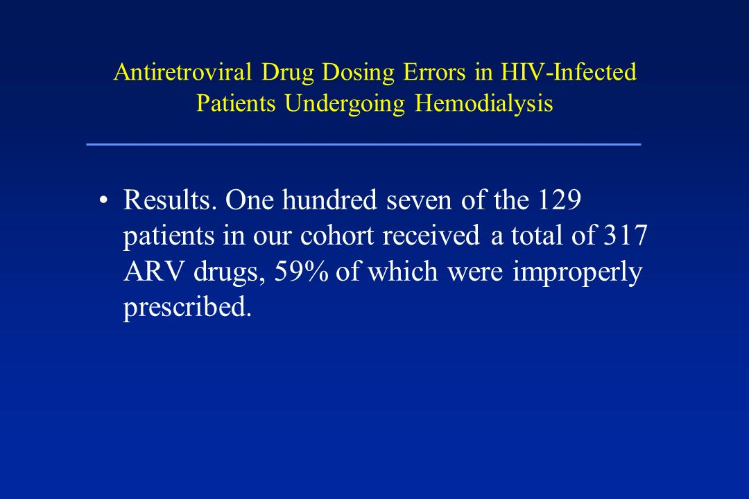Antiretroviral Drug Dosing Errors in HIV-Infected Patients Undergoing Hemodialysis