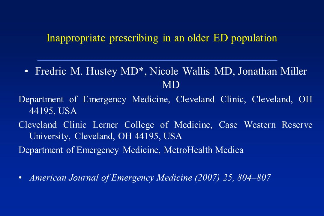 Inappropriate prescribing in an older ED population