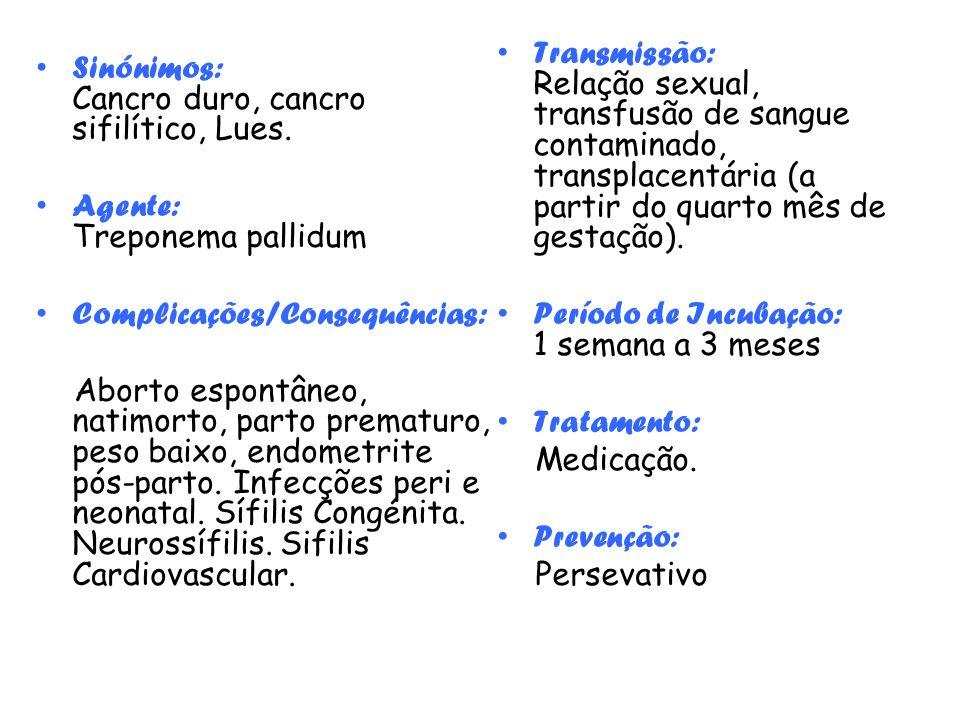 Transmissão: Relação sexual, transfusão de sangue contaminado, transplacentária (a partir do quarto mês de gestação).