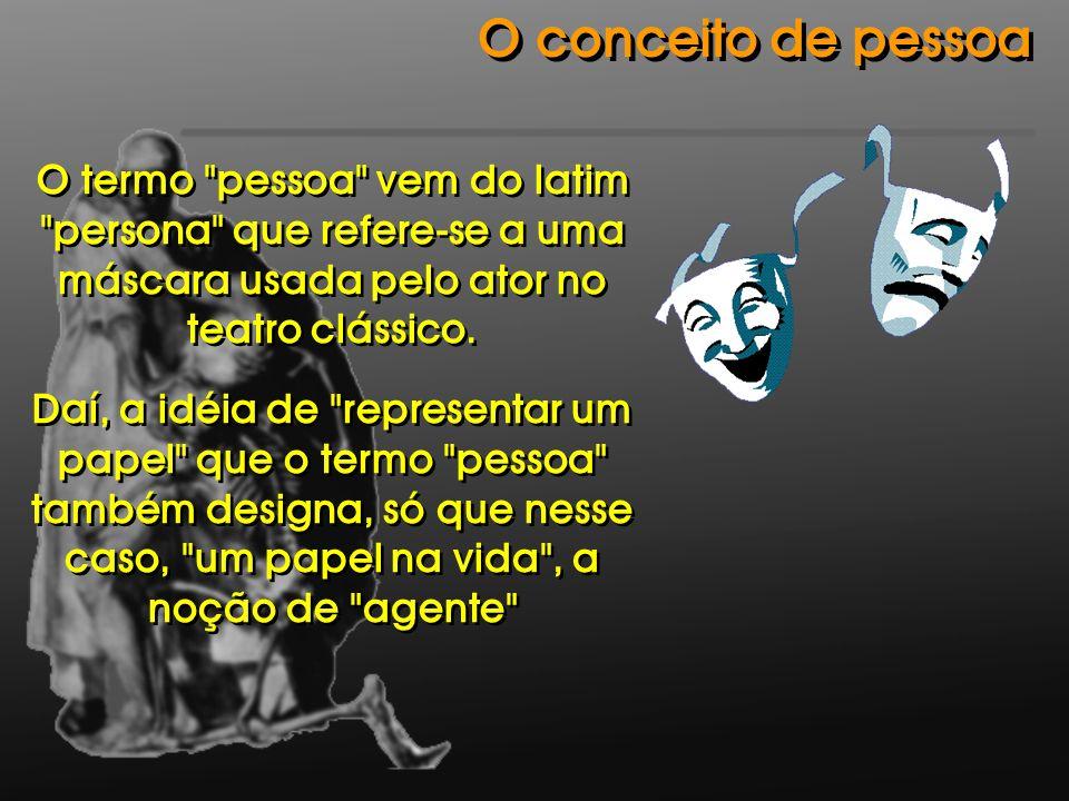 O conceito de pessoaO termo pessoa vem do latim persona que refere-se a uma máscara usada pelo ator no teatro clássico.