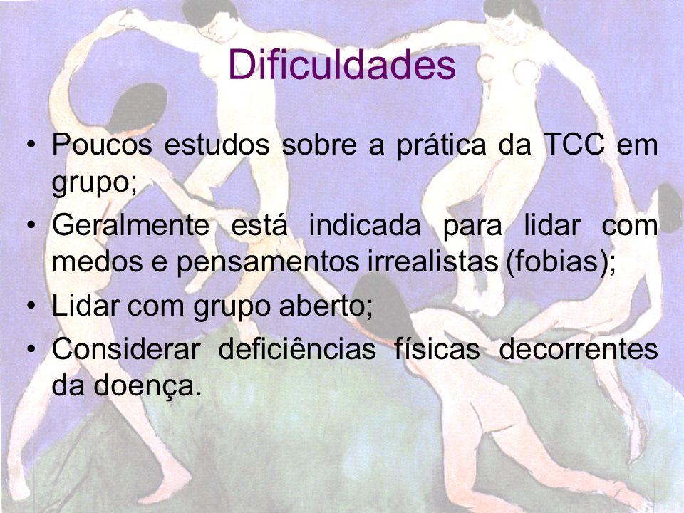 Dificuldades Poucos estudos sobre a prática da TCC em grupo;