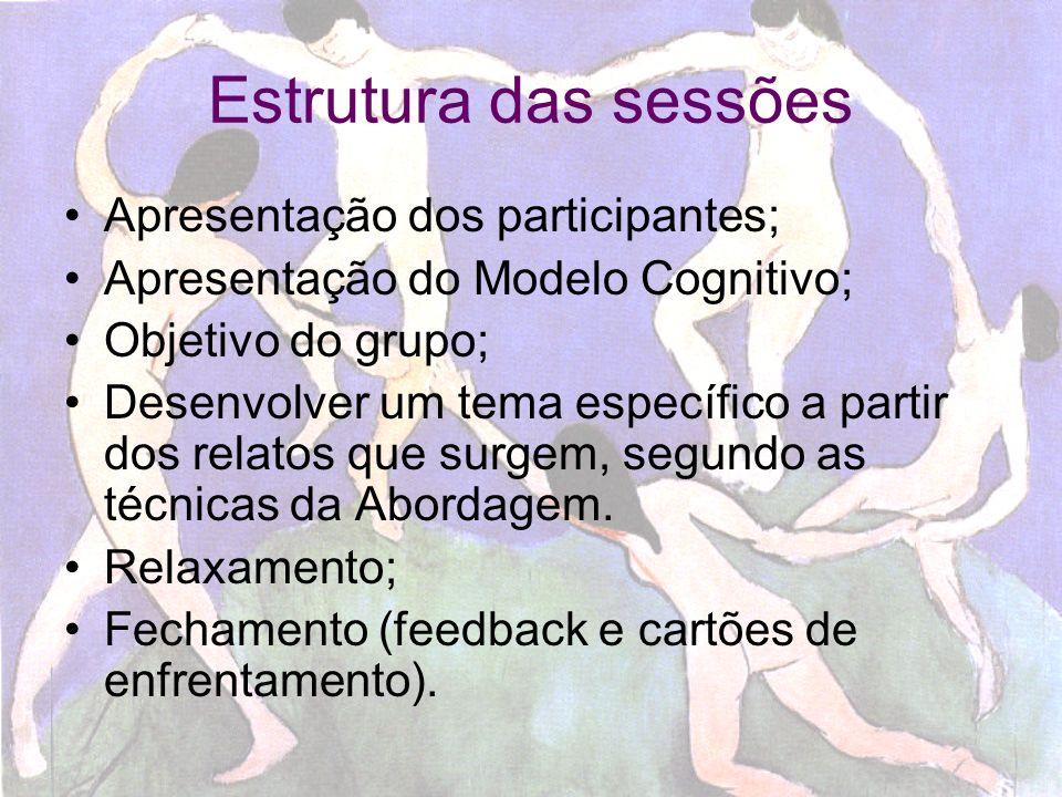 Estrutura das sessões Apresentação dos participantes;