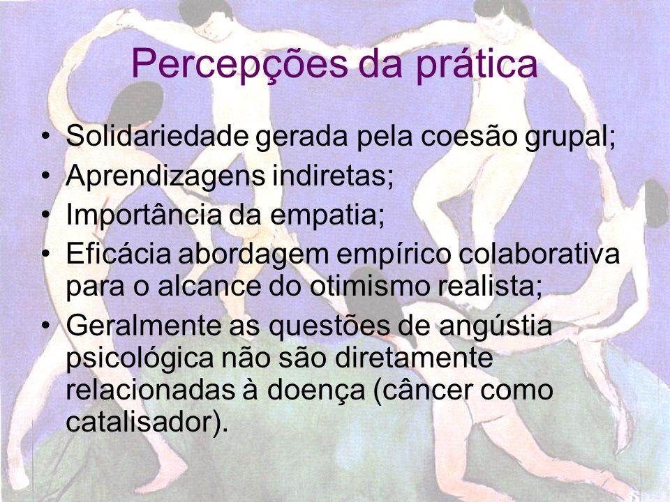Percepções da prática Solidariedade gerada pela coesão grupal;