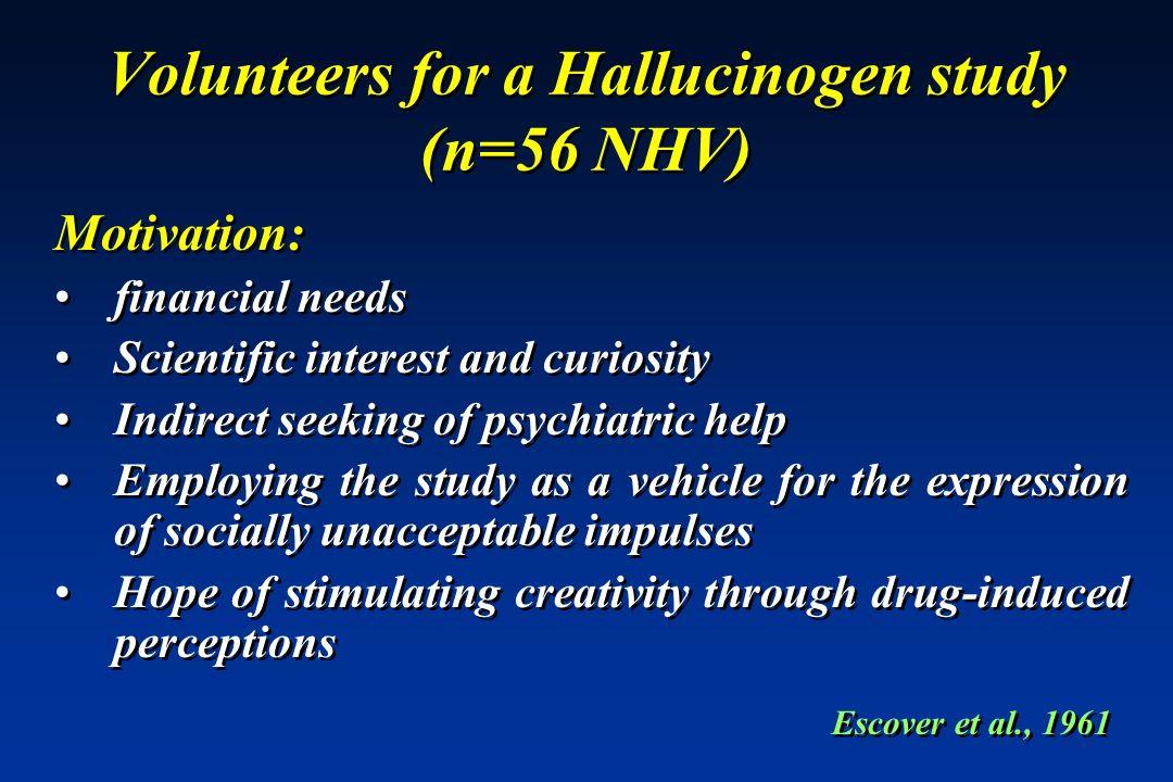 Volunteers for a Hallucinogen study (n=56 NHV)