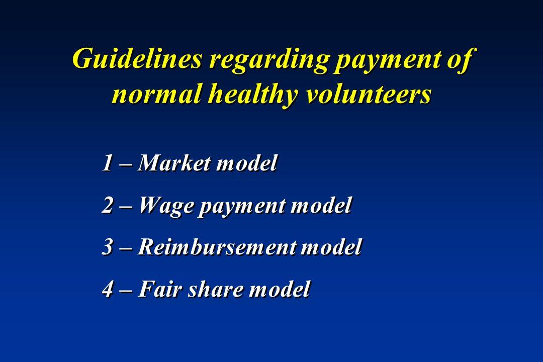 Guidelines regarding payment of normal healthy volunteers