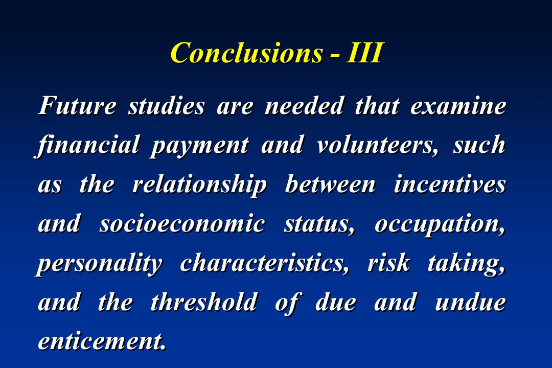 Conclusions - III