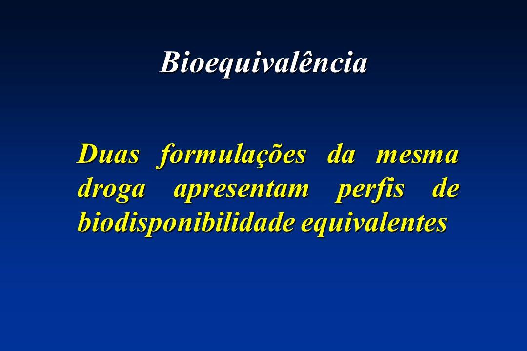 Bioequivalência Duas formulações da mesma droga apresentam perfis de biodisponibilidade equivalentes.
