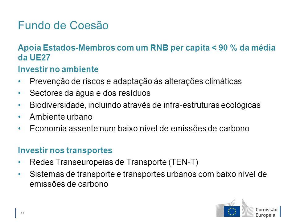 Fundo de Coesão Apoia Estados-Membros com um RNB per capita < 90 % da média da UE27. Investir no ambiente.