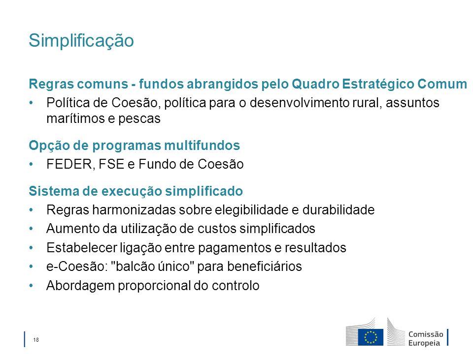 Simplificação Regras comuns - fundos abrangidos pelo Quadro Estratégico Comum.