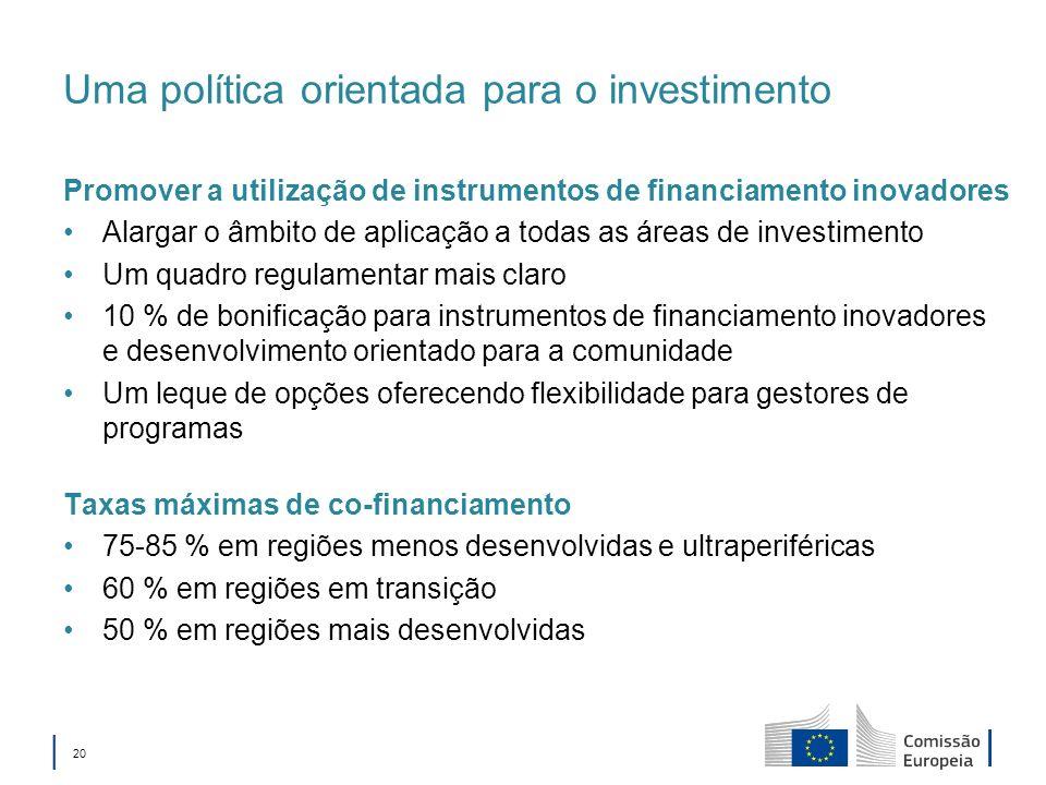 Uma política orientada para o investimento