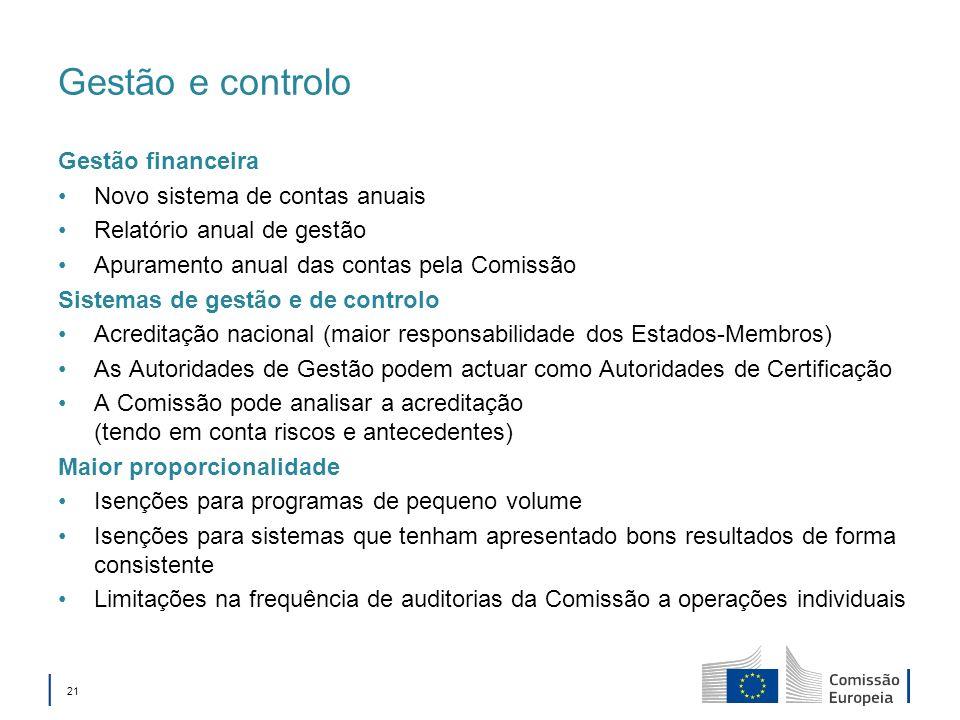 Gestão e controlo Gestão financeira Novo sistema de contas anuais