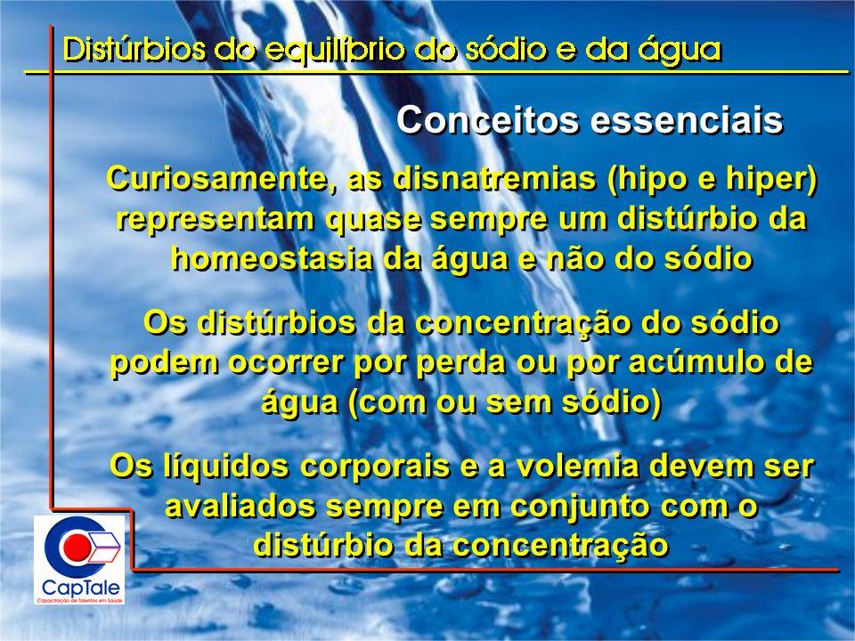 Conceitos essenciais Curiosamente, as disnatremias (hipo e hiper) representam quase sempre um distúrbio da homeostasia da água e não do sódio.