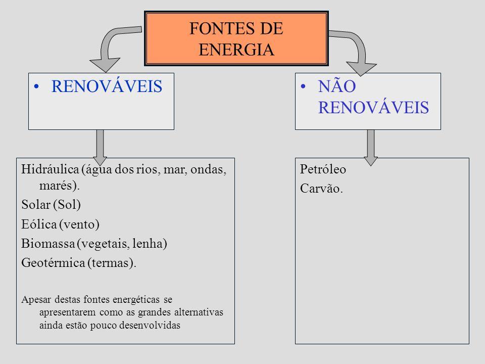 FONTES DE ENERGIA RENOVÁVEIS NÃO RENOVÁVEIS