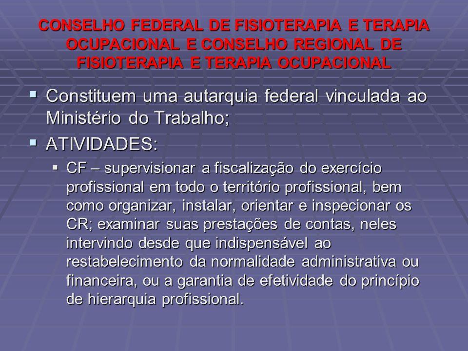 Constituem uma autarquia federal vinculada ao Ministério do Trabalho;
