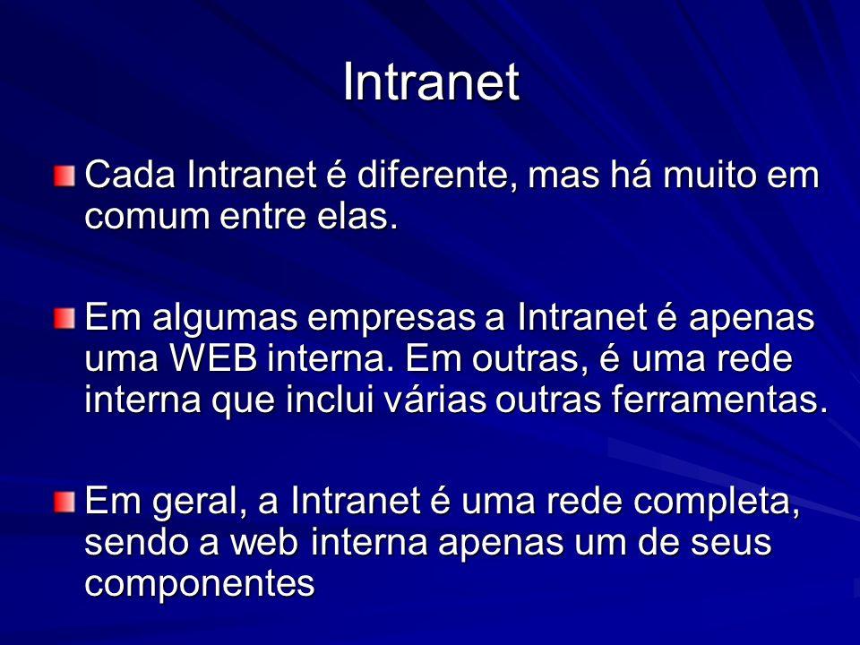 Intranet Cada Intranet é diferente, mas há muito em comum entre elas.