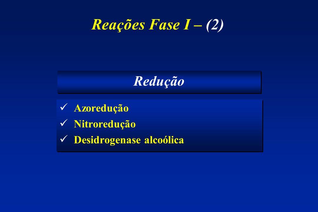 Reações Fase I – (2) Redução Azoredução Nitroredução