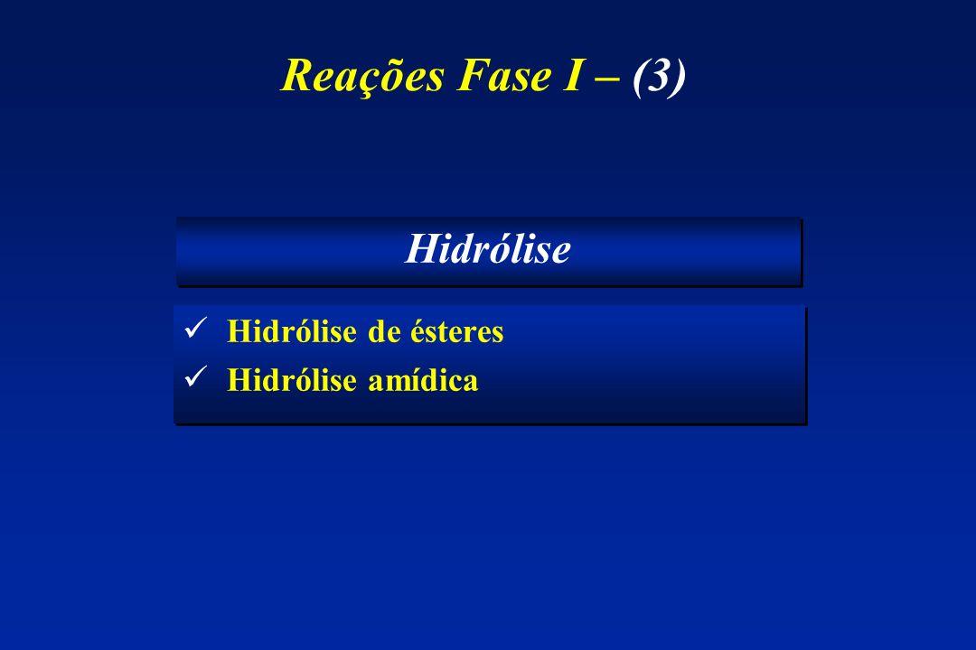 Reações Fase I – (3) Hidrólise Hidrólise de ésteres Hidrólise amídica