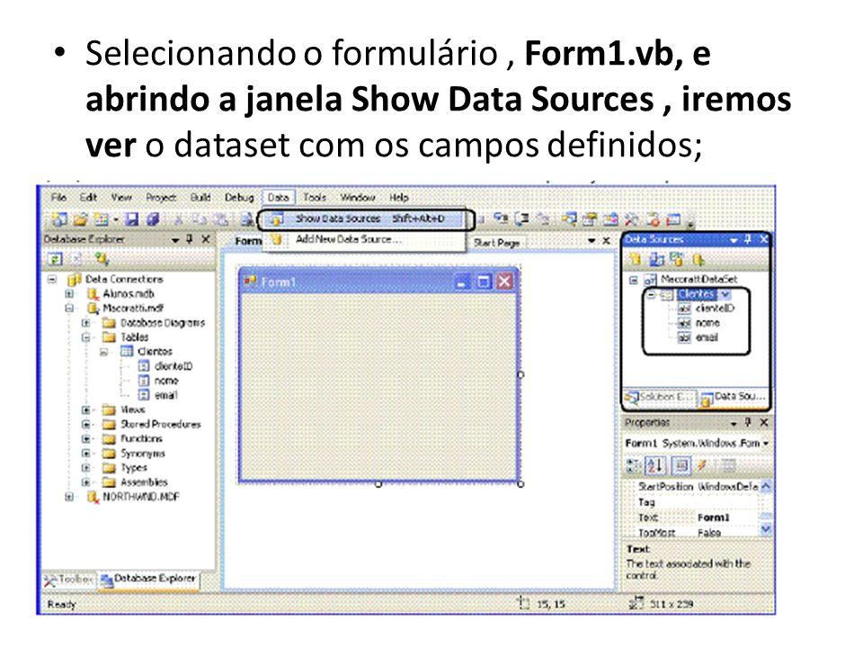 Selecionando o formulário , Form1
