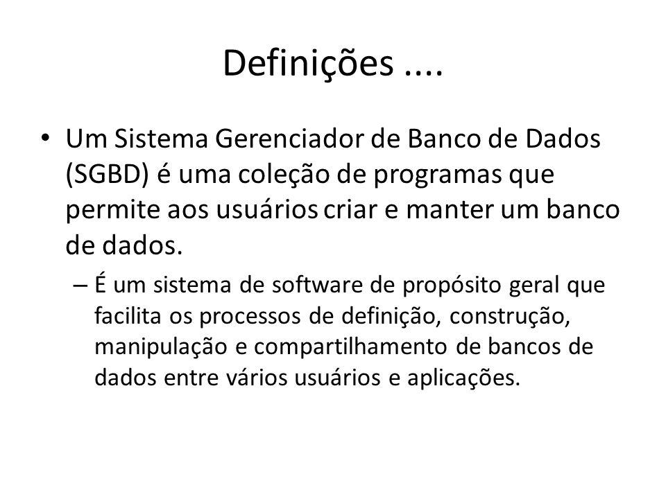 Definições .... Um Sistema Gerenciador de Banco de Dados (SGBD) é uma coleção de programas que permite aos usuários criar e manter um banco de dados.