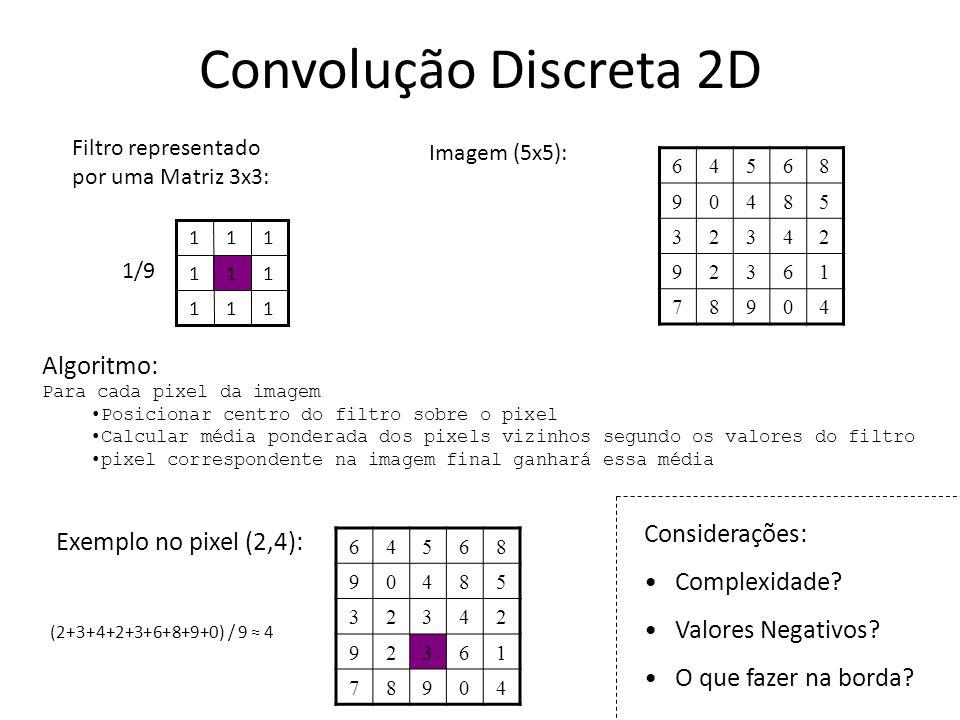 Convolução Discreta 2D Algoritmo: Considerações: