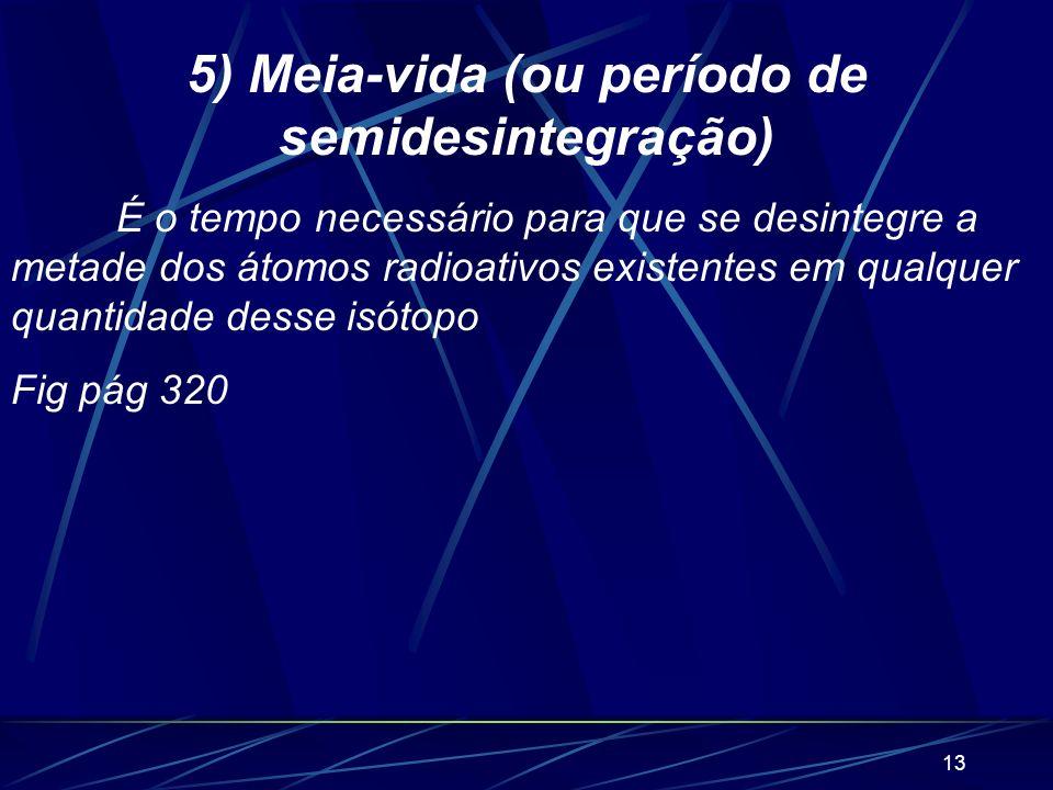 5) Meia-vida (ou período de semidesintegração)
