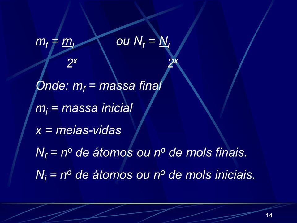 mf = mi ou Nf = Ni 2x 2x. Onde: mf = massa final. mi = massa inicial.