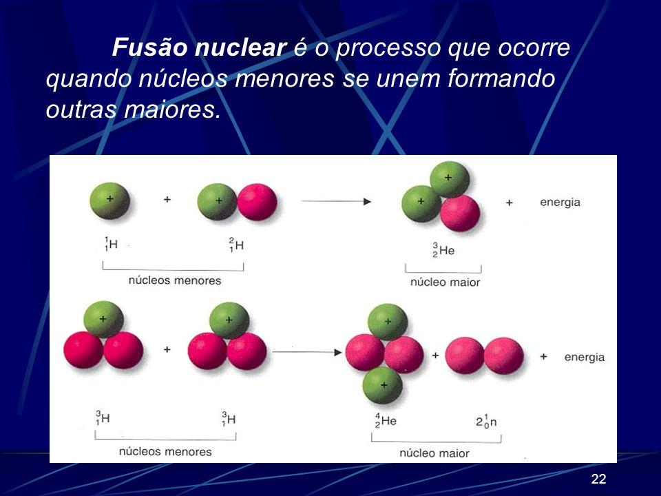 Fusão nuclear é o processo que ocorre quando núcleos menores se unem formando outras maiores.