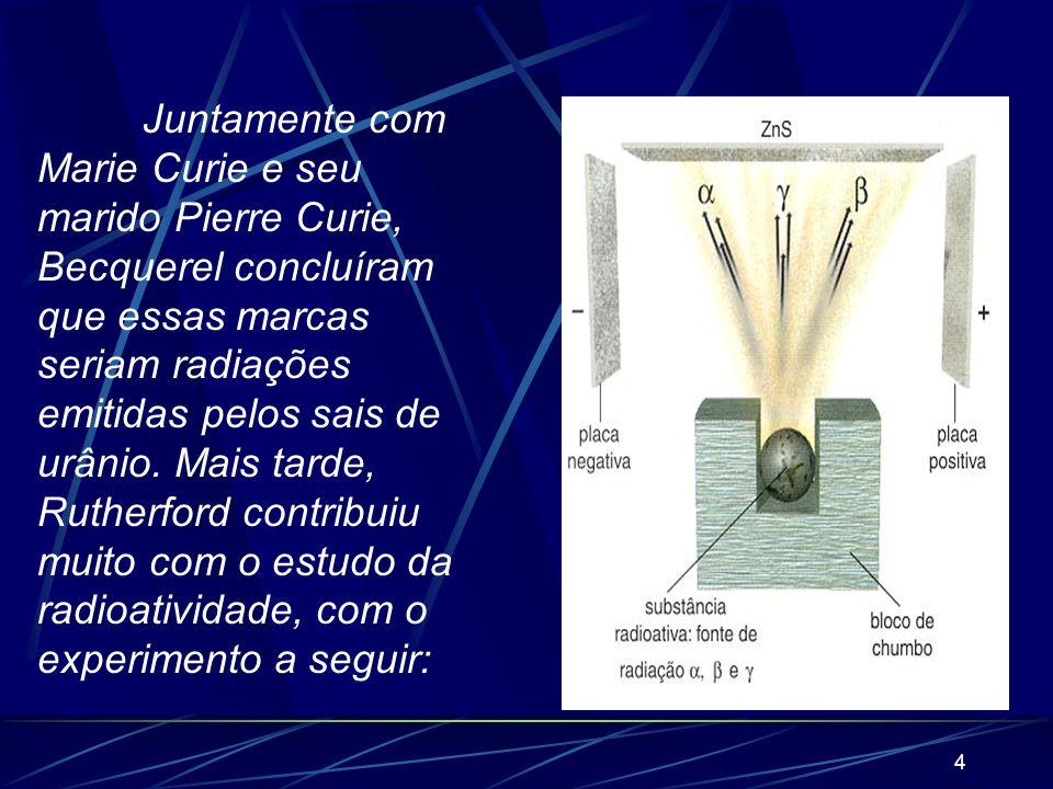 Juntamente com Marie Curie e seu marido Pierre Curie, Becquerel concluíram que essas marcas seriam radiações emitidas pelos sais de urânio.