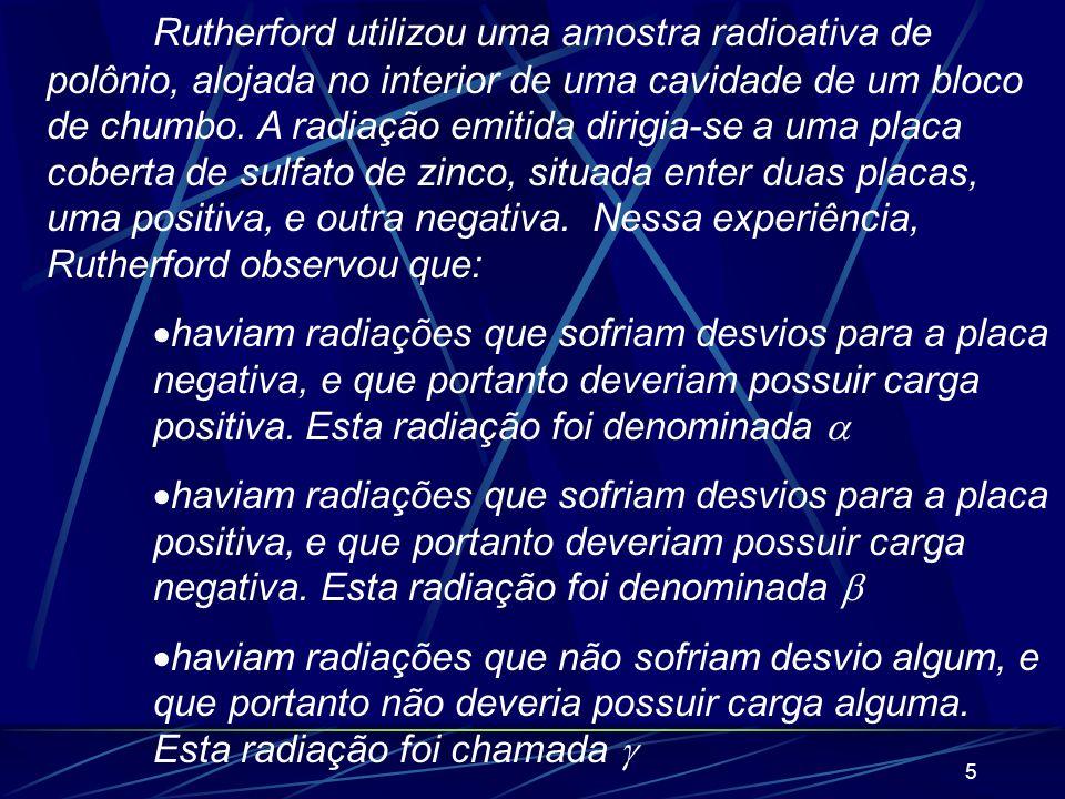 Rutherford utilizou uma amostra radioativa de polônio, alojada no interior de uma cavidade de um bloco de chumbo. A radiação emitida dirigia-se a uma placa coberta de sulfato de zinco, situada enter duas placas, uma positiva, e outra negativa. Nessa experiência, Rutherford observou que: