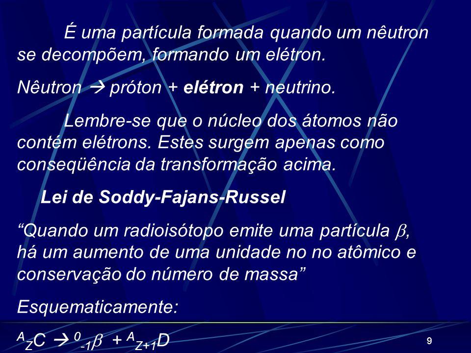 É uma partícula formada quando um nêutron se decompõem, formando um elétron.