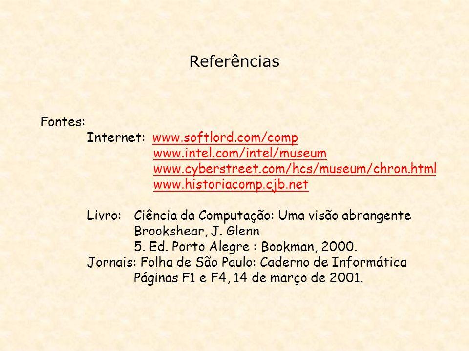 Referências Fontes: Internet: www.softlord.com/comp