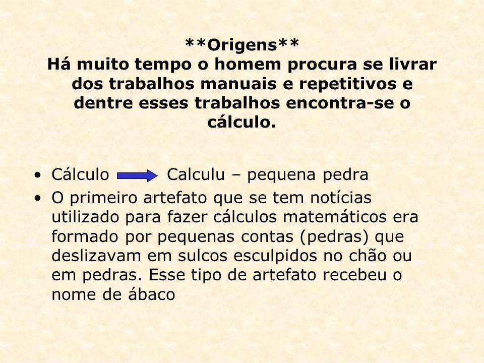 **Origens** Há muito tempo o homem procura se livrar dos trabalhos manuais e repetitivos e dentre esses trabalhos encontra-se o cálculo.