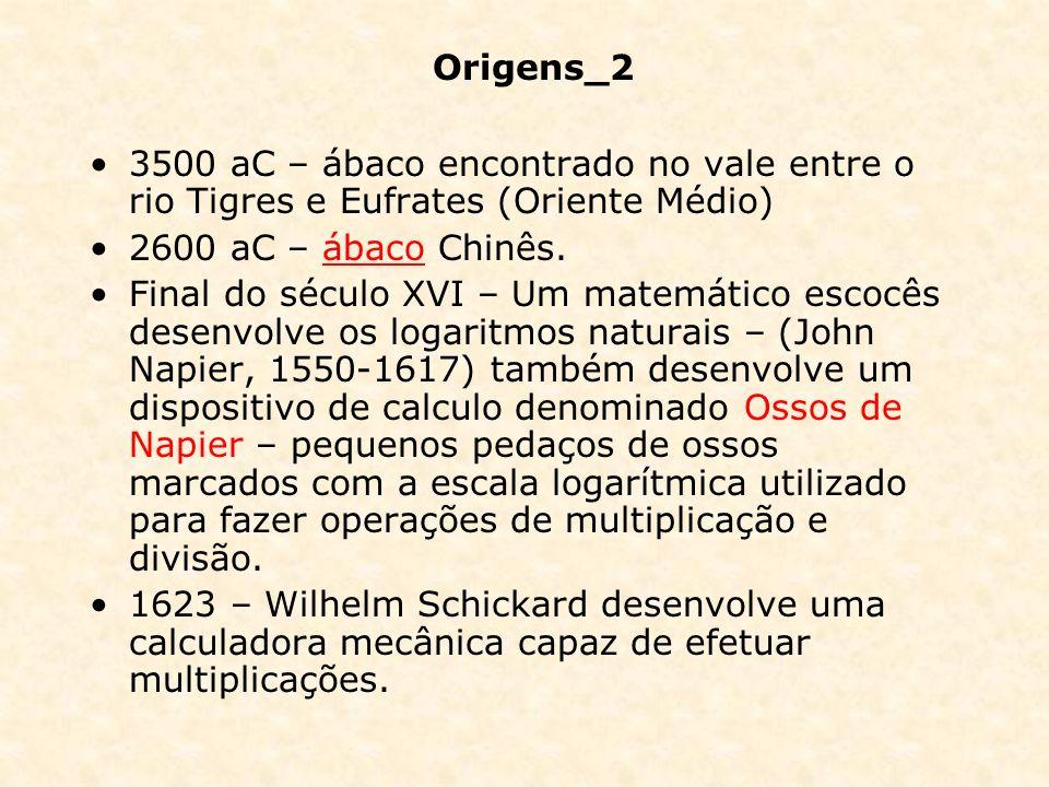 Origens_2 3500 aC – ábaco encontrado no vale entre o rio Tigres e Eufrates (Oriente Médio) 2600 aC – ábaco Chinês.