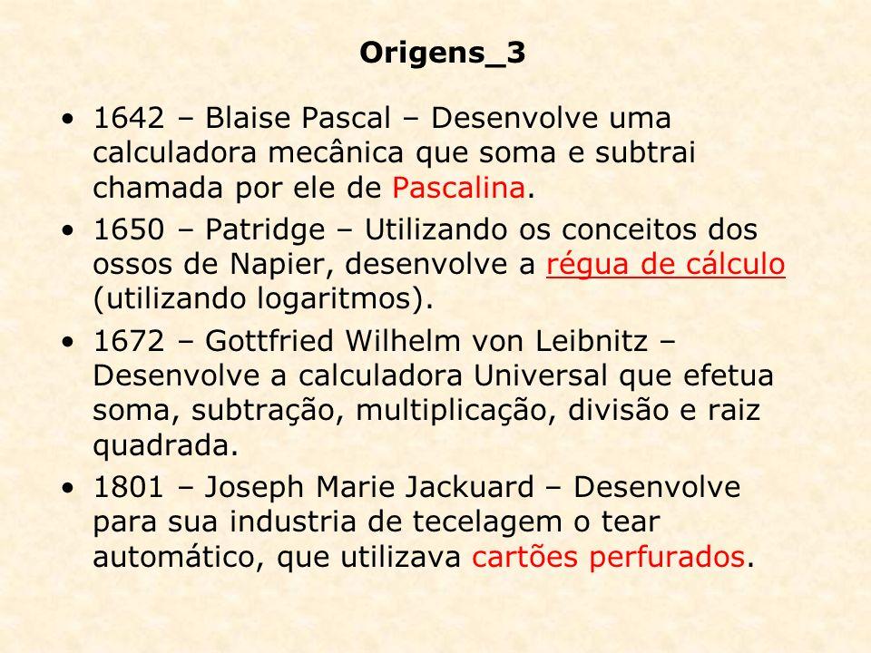 Origens_3 1642 – Blaise Pascal – Desenvolve uma calculadora mecânica que soma e subtrai chamada por ele de Pascalina.
