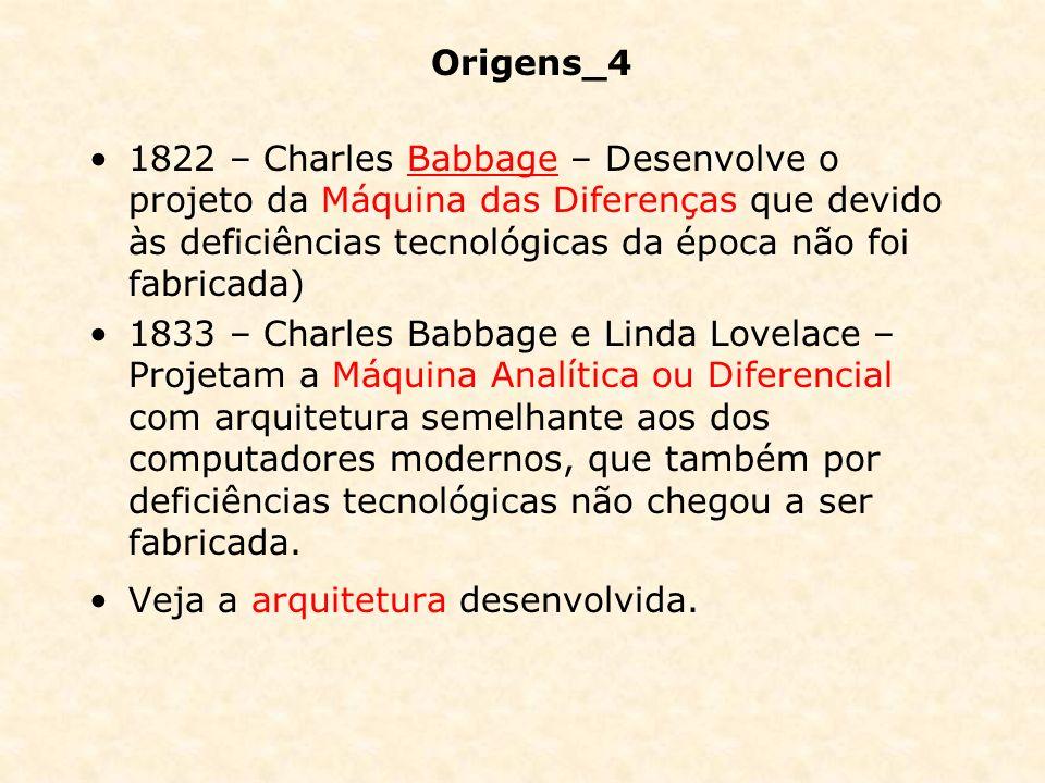 Origens_4 1822 – Charles Babbage – Desenvolve o projeto da Máquina das Diferenças que devido às deficiências tecnológicas da época não foi fabricada)