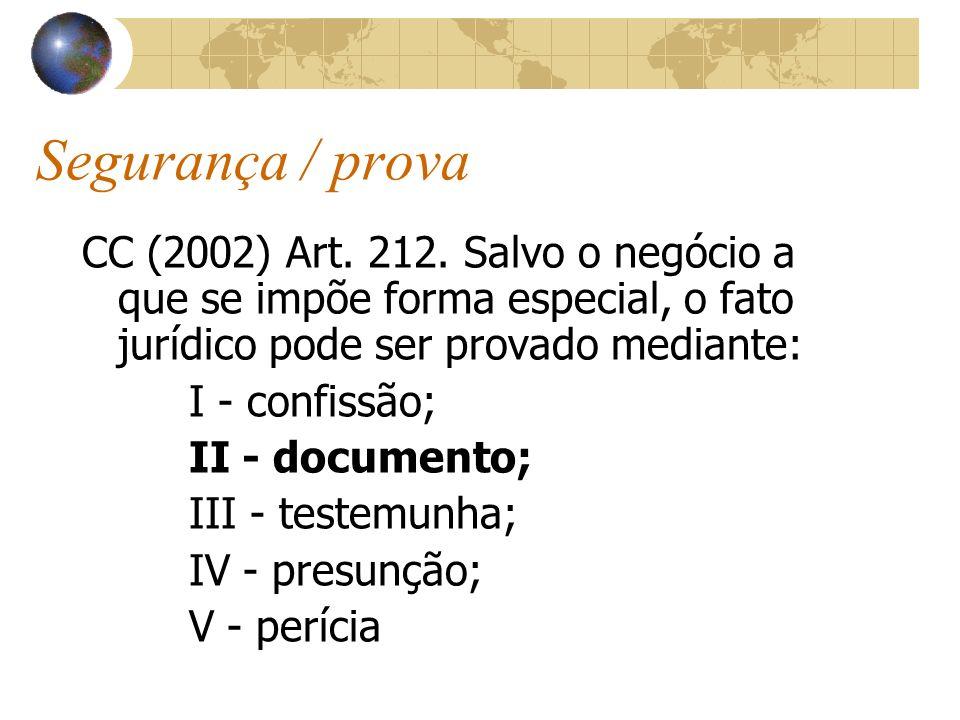 Segurança / provaCC (2002) Art. 212. Salvo o negócio a que se impõe forma especial, o fato jurídico pode ser provado mediante: