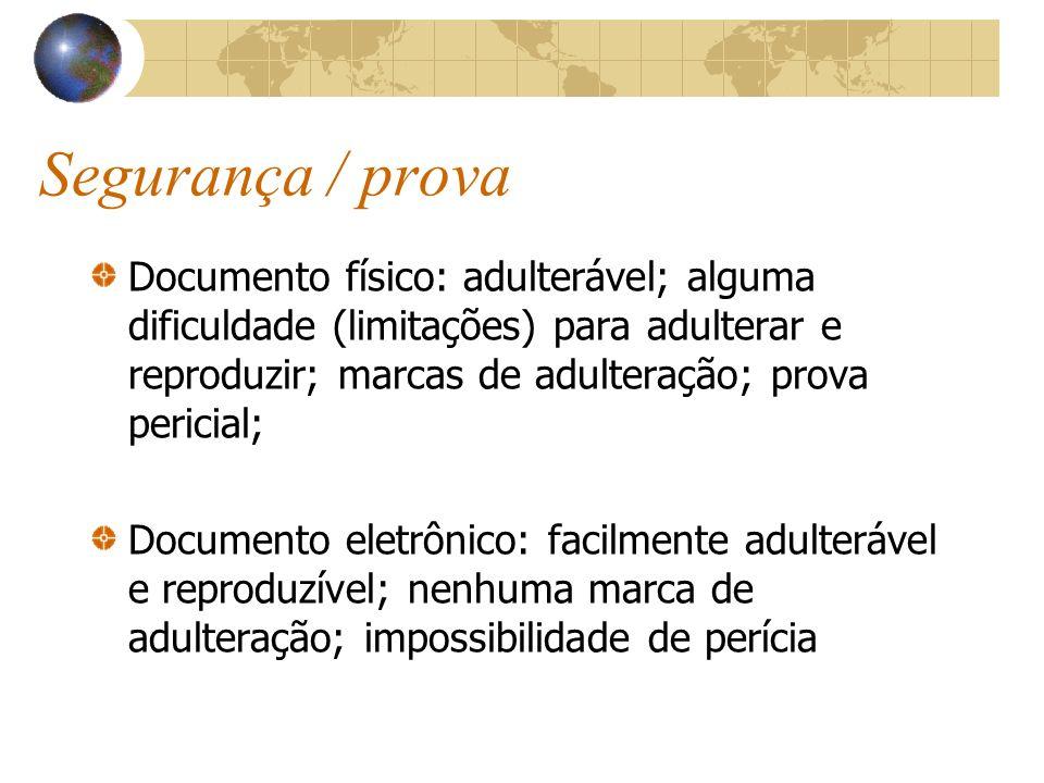 Segurança / provaDocumento físico: adulterável; alguma dificuldade (limitações) para adulterar e reproduzir; marcas de adulteração; prova pericial;