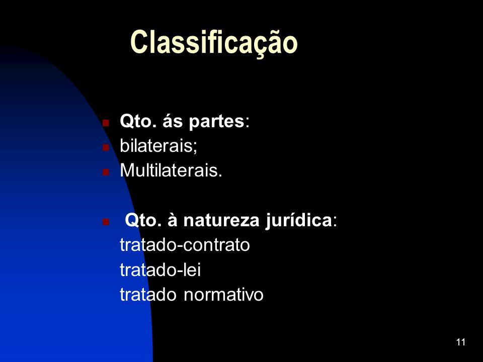 Classificação Qto. ás partes: bilaterais; Multilaterais.