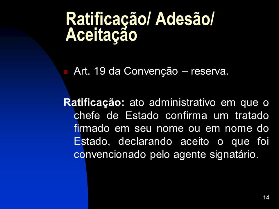 Ratificação/ Adesão/ Aceitação