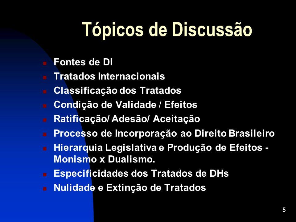 Tópicos de Discussão Fontes de DI Tratados Internacionais