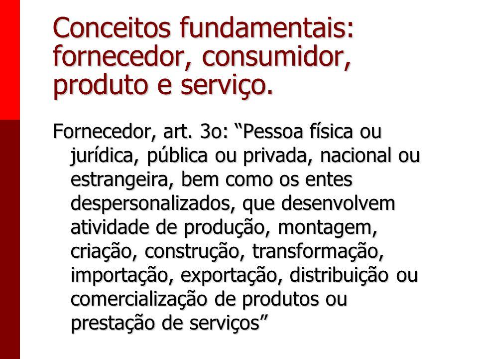 Conceitos fundamentais: fornecedor, consumidor, produto e serviço.