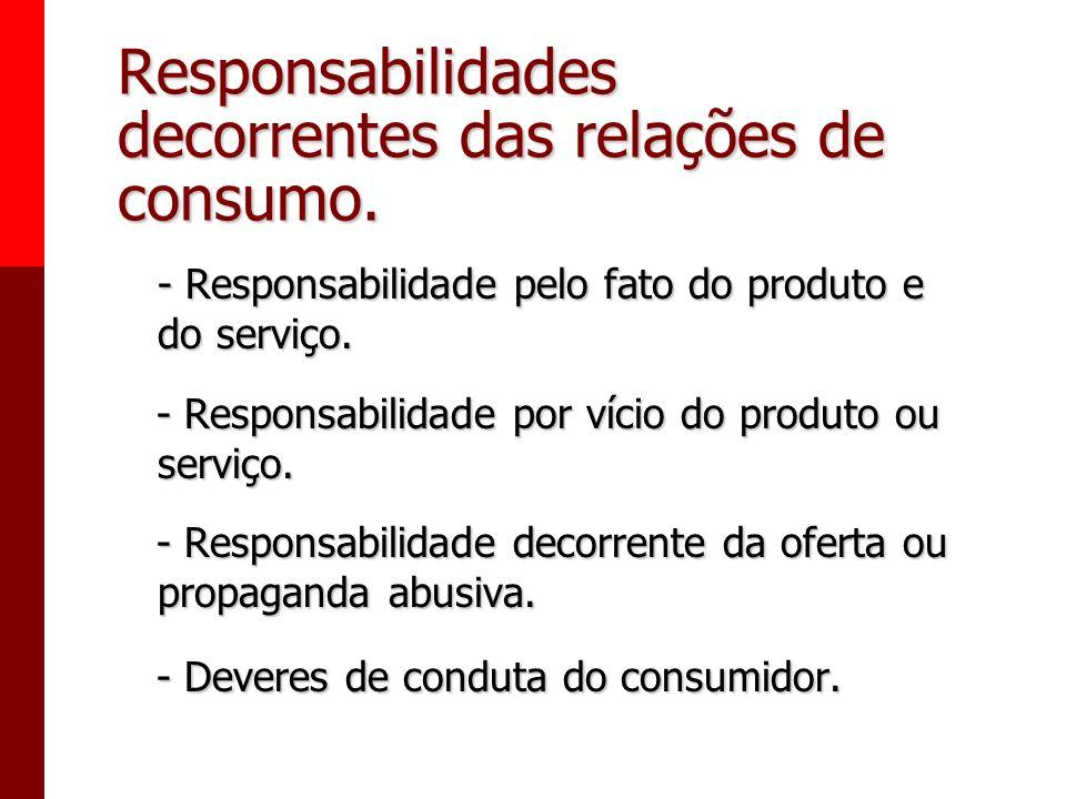 Responsabilidades decorrentes das relações de consumo.