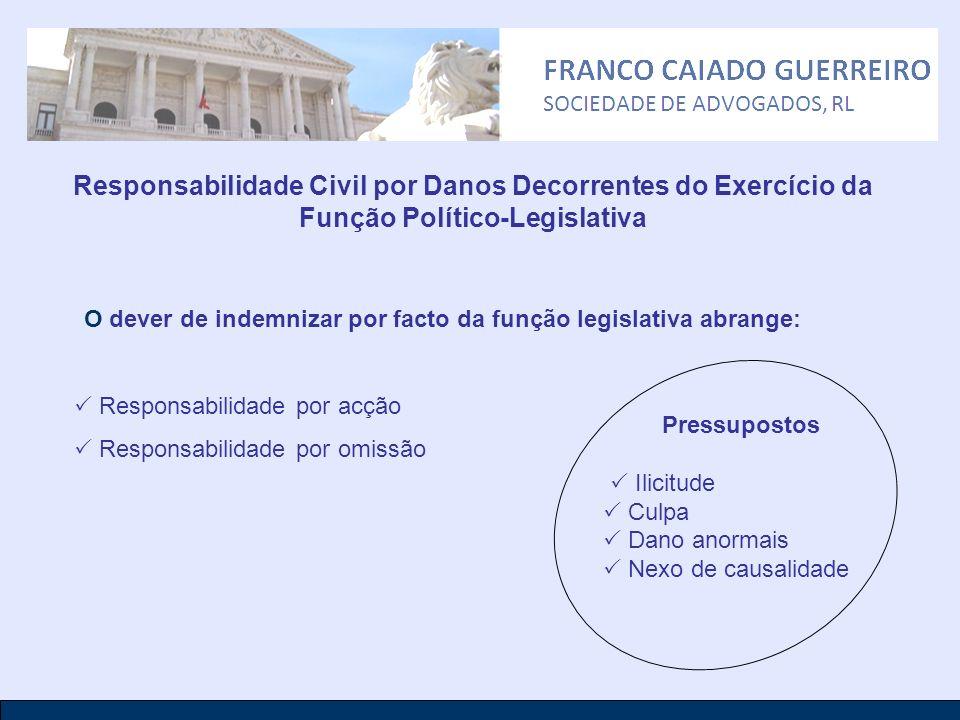 O dever de indemnizar por facto da função legislativa abrange: