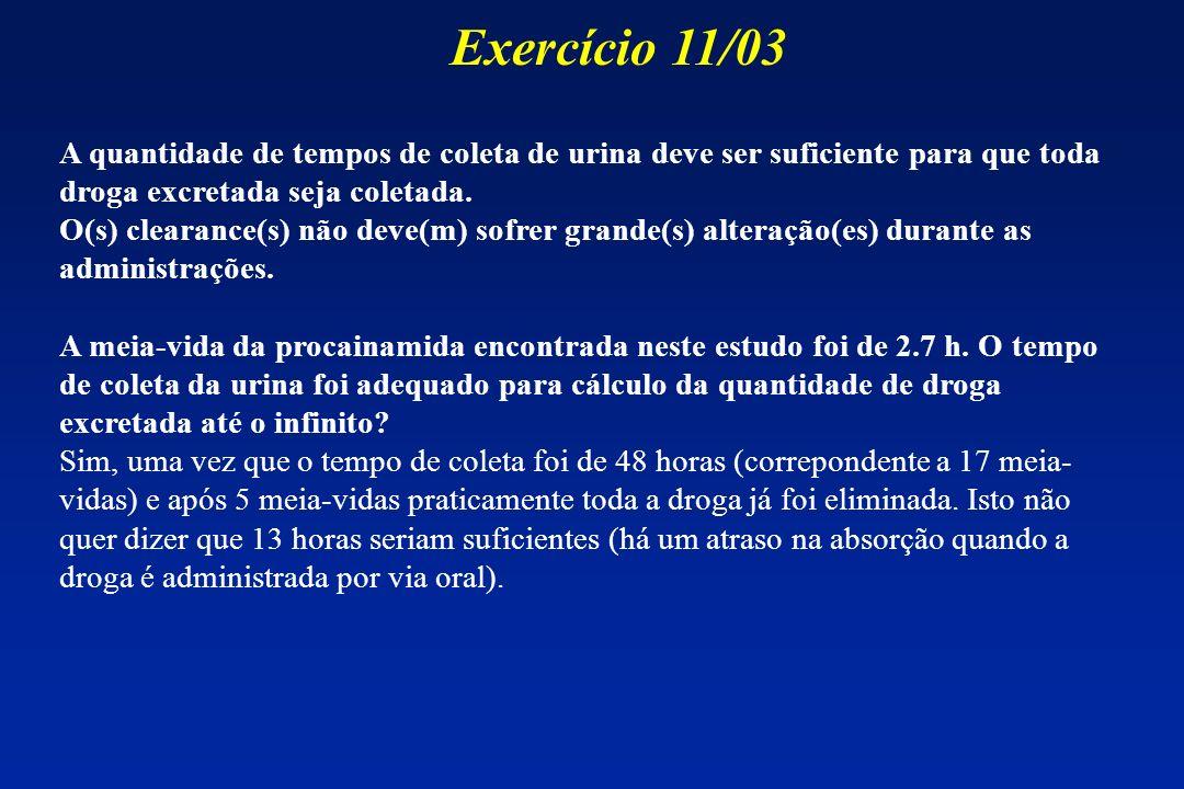 Exercício 11/03 A quantidade de tempos de coleta de urina deve ser suficiente para que toda droga excretada seja coletada.