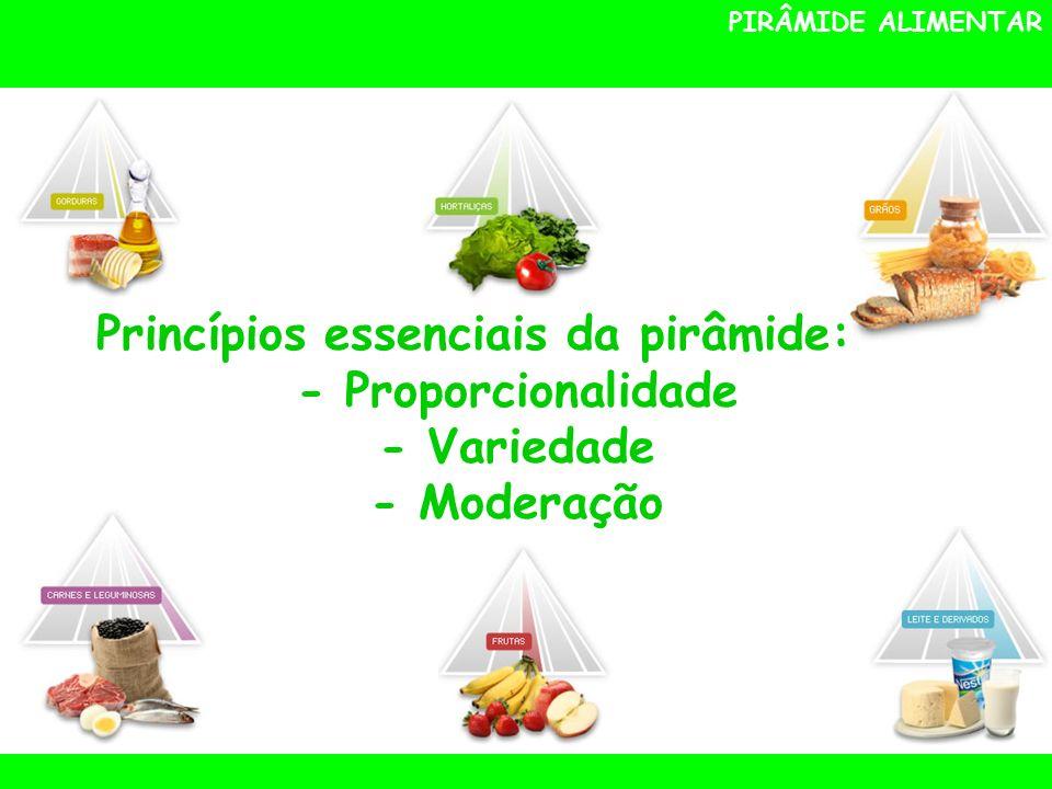 PIRÂMIDE ALIMENTAR Princípios essenciais da pirâmide: - Proporcionalidade - Variedade - Moderação